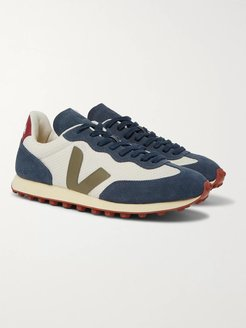 Rio Branco Leather and Rubber-Trimmed Hexamesh and Suede Sneakers - Men - Blue