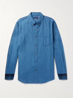 Button-Down Collar Panelled Checked Cotton-Flannel Shirt - Men - Blue