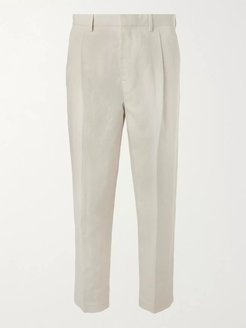 Tapered Pleated Linen and Cotton-Blend Twill Cropped Trousers - Men - Neutrals