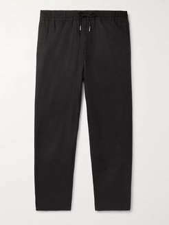 Black Slim-Fit Tapered Linen and Cotton-Blend Drawstring Trousers - Men - Black