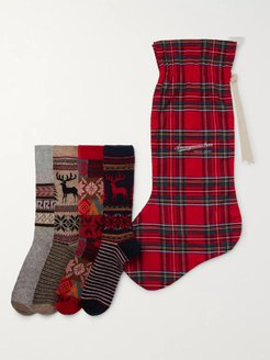 12-Pack Knitted Socks and Stocking Gift Set - Men - Red
