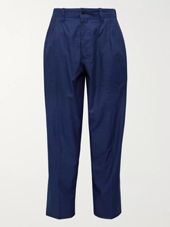 Tapered Pleated Cotton-Twill Suit Trousers - Men - Blue