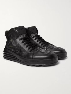 Leather and Camouflage-Print Mesh High-Top Sneakers - Men - Black