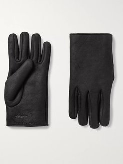Logo-Embroidered Shearling Gloves - Men - Gray