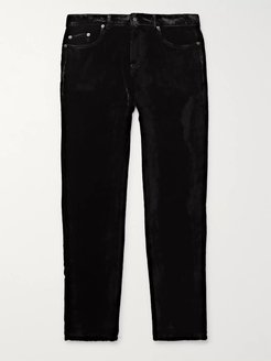 Black Skinny-Fit Velvet Trousers - Men - Black