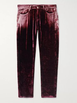 Skinny-Fit Velvet Trousers - Men - Burgundy