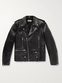 Slim-Fit Leather Biker Jacket - Men - Black