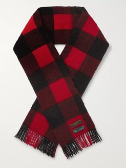 Fringed Padded Checked Wool Scarf - Men - Red