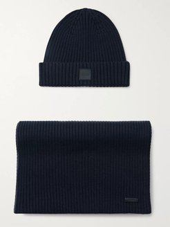 Ribbed Wool and Cotton-Blend Beanie and Scarf Set - Men - Blue