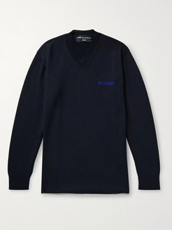 Logo-Embroidered Wool and Cotton-Blend Sweater - Men - Blue