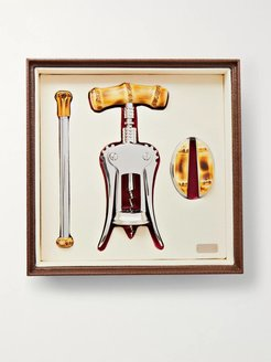Bamboo And Chrome-Plated Wine Set - Men - Brown
