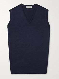 Hadfield Merino Wool Sweater Vest - Men - Blue