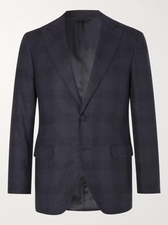 Navy Prince of Wales Checked Wool Suit Jacket - Men - Blue