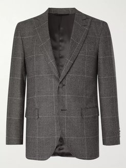 Grey Prince of Wales Checked Wool Suit Jacket - Men - Gray