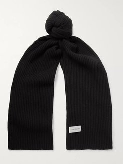 Ribbed Mélange Wool-Blend Scarf - Men - Black