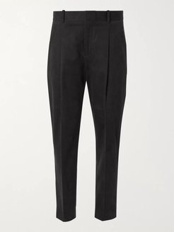 Tapered Pleated Cotton and Cashmere-Blend Moleskin Trousers - Men - Black