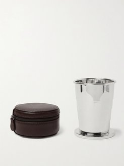 Silver-Tone Collapsible Cup with Cross-Grain Leather Case - Men - Silver