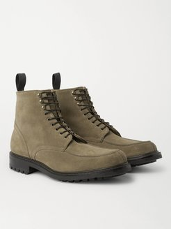 Heath Shearling-Lined Goodyear-Welted Split-Toe Suede Boots - Men - Green