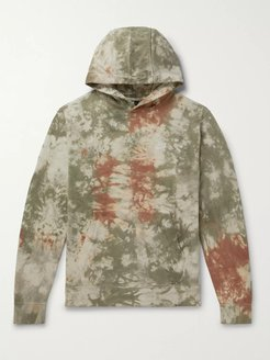 Tie-Dyed Loopback Cotton-Jersey Hoodie - Men - Green