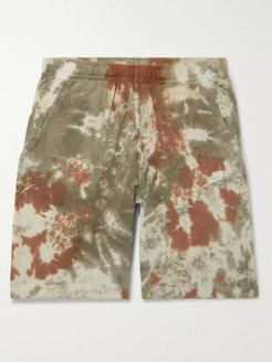Wide-Leg Tie-Dyed Loopback Cotton-Blend Terry Drawstring Shorts - Men - Green