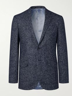 Navy Spirit Houndstooth Hopsack Blazer - Men - Blue