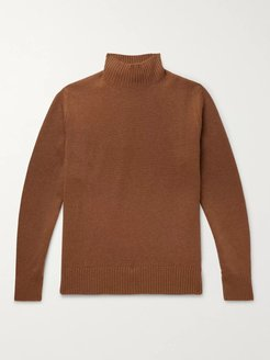 Wool and Cashmere-Blend Mock-Neck Sweater - Men - Brown