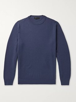 Waffle-Knit Wool and Cashmere-Blend Sweater - Men - Blue