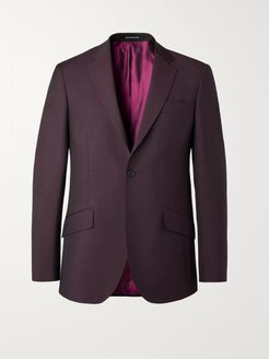 Burgundy Slim-Fit Wool and Mohair-Blend Suit Jacket - Men - Burgundy