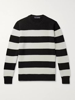 Slim-Fit Striped Wool and Cashmere-Blend Sweater - Men - Black