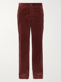 Wide-Leg Black Cotton-Corduroy Trousers - Men - Red