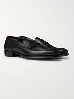 George Cleverley Leather Penny Loafers - Men - Black