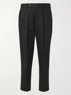 Slim-Fit Tapered Pleated Cotton-Twill Trousers - Men - Black