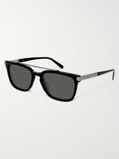 Square-Frame Acetate and Gunmetal-Tone Sunglasses - Men - Black