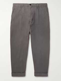 Tapered Cropped Pleated Cotton-Twill Trousers - Men - Gray