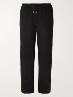 Wide-Leg Black Fleece-Back Wool-Blend Drawstring Trousers - Men - Black