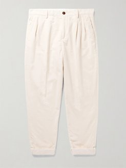 Tapered Pleated Cotton-Corduroy Trousers - Men - Neutrals