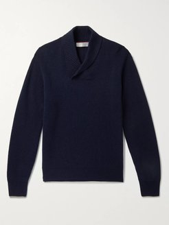 Shawl-Collar Ribbed Virgin Wool, Cashmere and Silk-Blend Sweater - Men - Blue