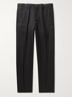 Slim-Fit Cropped Pleated Twill Trousers - Men - Black