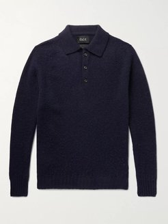 Ghost Pressure Brushed-Wool Polo Shirt - Men - Blue