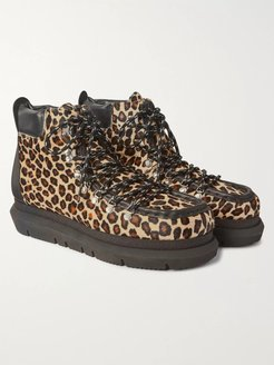 Leopard-Print Leather-Trimmed Calf Hair Boots - Men - Brown
