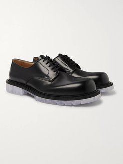 Clear Sole Polished-Leather Derby Shoes - Men - Black