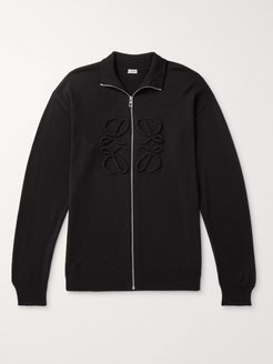 Logo-Embroidered Zip-Up Wool and Cashmere-Blend Sweater - Men - Black