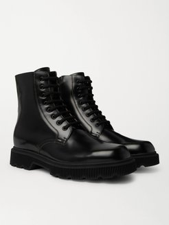 Mystras Logo-Appliquéd Polished-Leather Boots - Men - Black