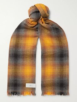 Fringed Checked Wool and Cashmere-Blend Scarf - Men - Yellow
