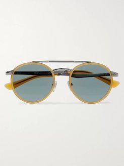 Round-Frame Acetate and Silver-Tone Sunglasses - Men - Yellow