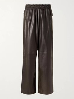 Wide-Leg Leather Trousers - Men - Brown
