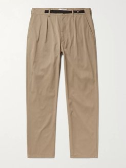 Belted Tapered Nylon-Twill Trousers - Men - Brown