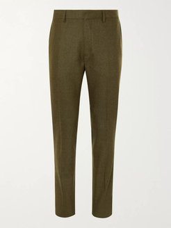 Tapered Mélange Virgin Wool-Blend Flannel Trousers - Men - Green