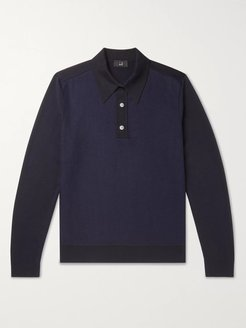 Panelled Wool Polo Shirt - Men - Blue