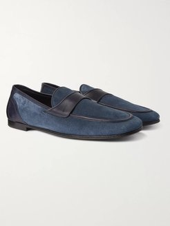 Leather-Trimmed Suede Loafers - Men - Blue
